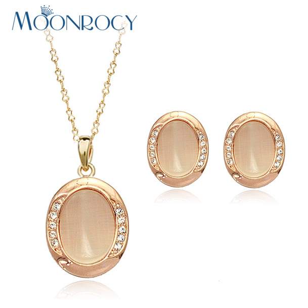 MOONROCY Jewelry wholesale Free Shipping Rose Gold Color Opal Jewelry Set Necklace and Earring for women Gift