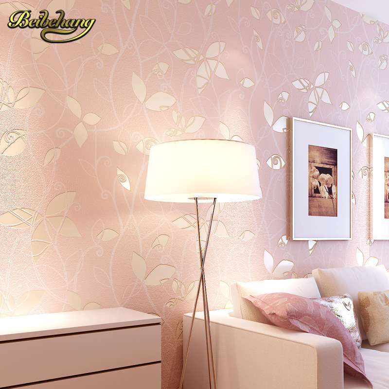 beibehang Non-woven Wallpaper roll leaves pattern wall covering simple wall paper for kids bedrooms blue/pink papel de parede 3D