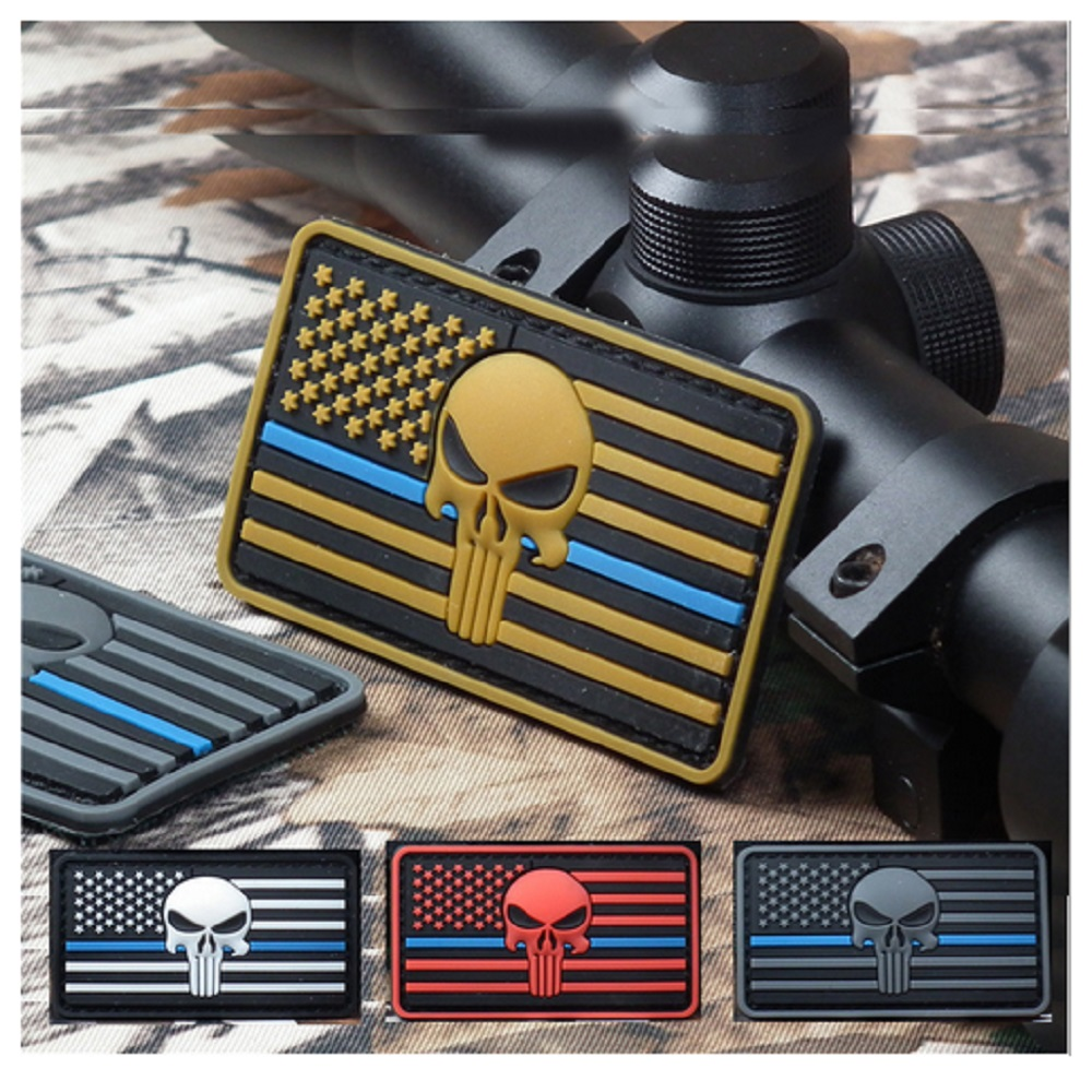 3pcs/lot 3D PVC Glue armband Loop And Hook Seals punisher patches Seal Team Punisher patches American flag patch armband