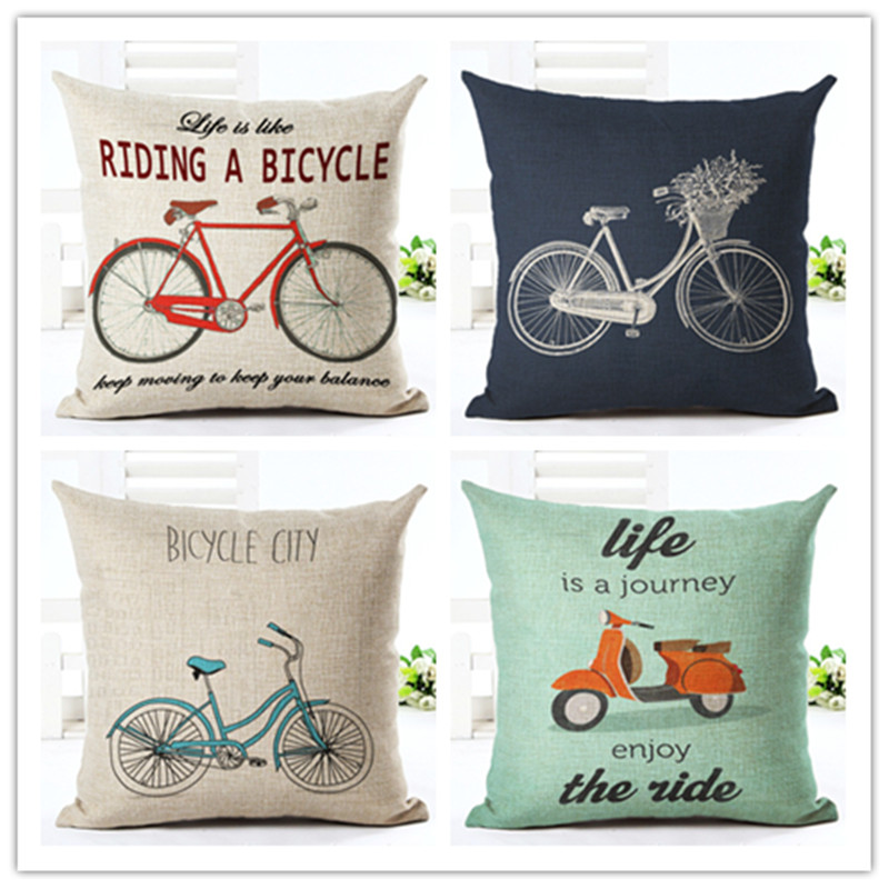 Bike Pattern Printed Cotton Linen Pillowcase Decorative Pillows Cushion Use For Home Sofa Car Office Almofadas Cojines