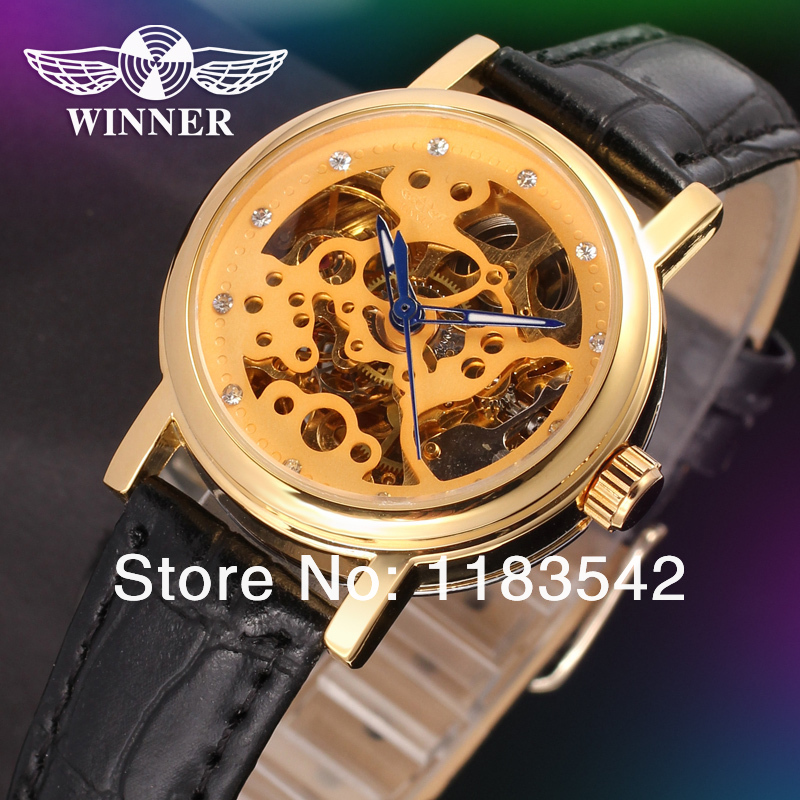 Winner Automatic Ladies fashion skeleton dress watch gold color with clear stones